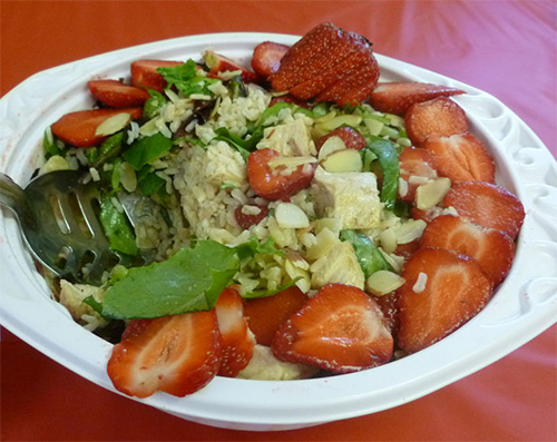 Strawberry Rice Salad with Chicken & Almonds