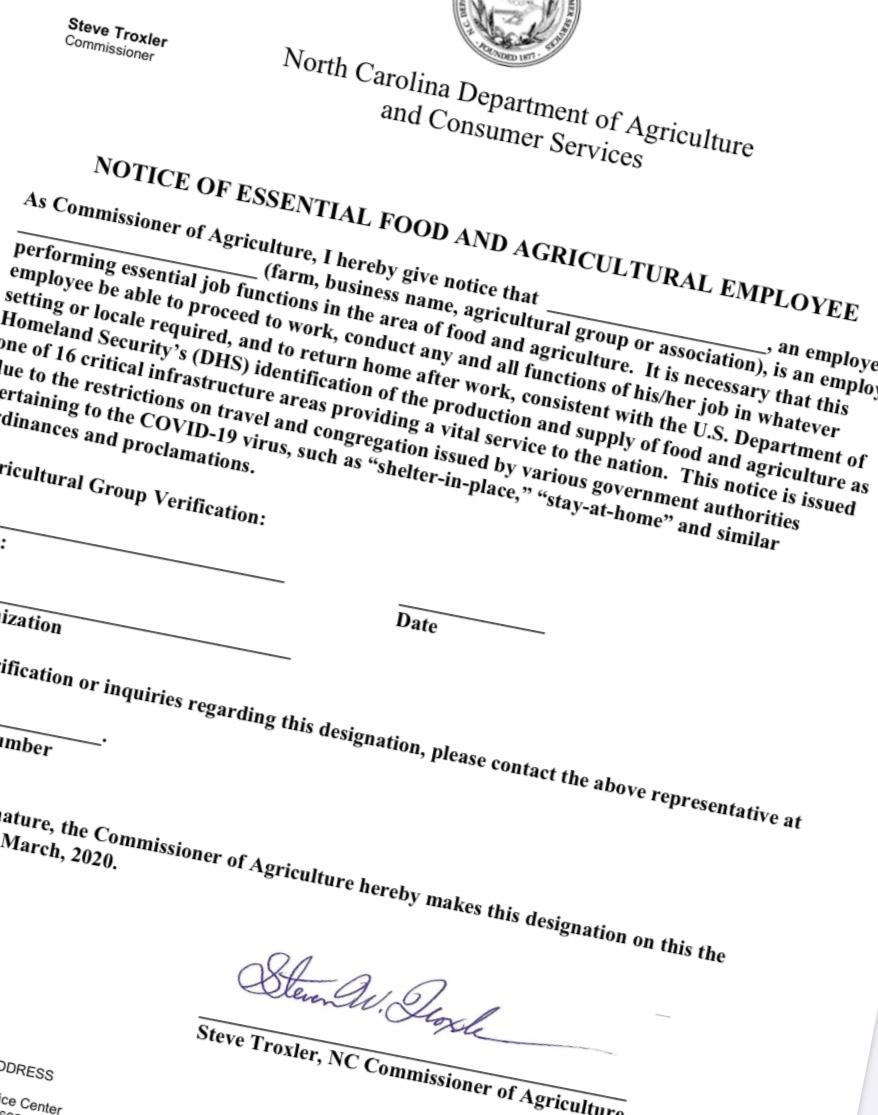 Letter from Commissioner of Agriculture Steve Troxler